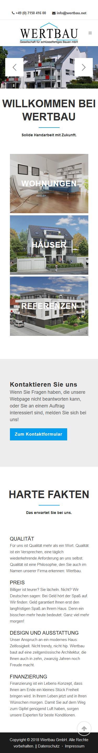 Makler-Wohnbaugesellschaft Webdesign -Smartphone