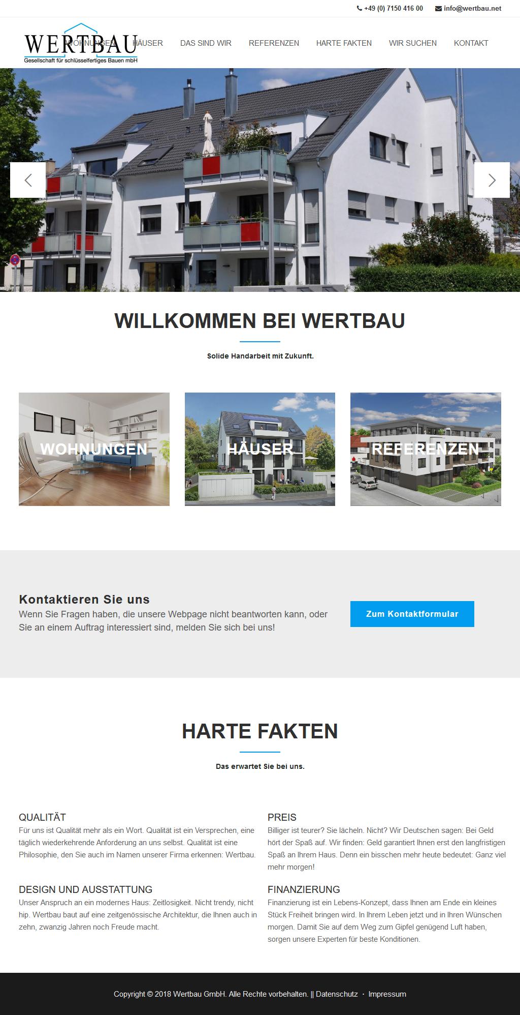 Makler-Wohnbaugesellschaft Webdesign -Tablet
