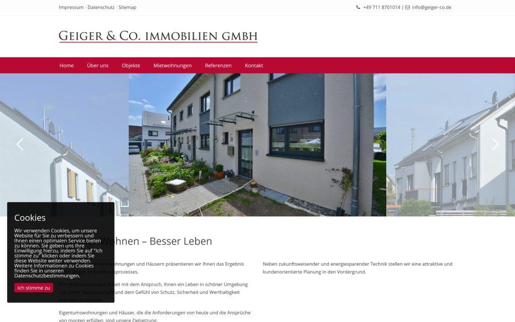 Webdesign Wohnbaugesellschaft Responsive Design Desktop