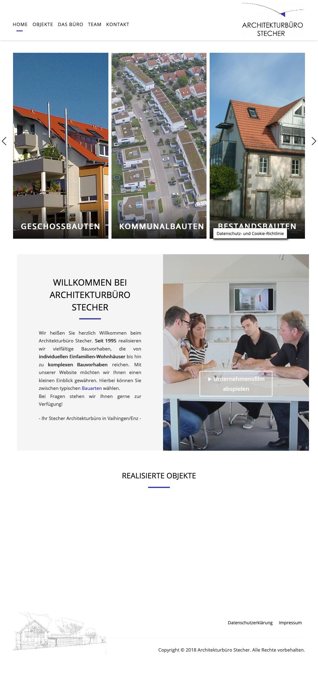 Webdesign für Architekturbüro Tablet