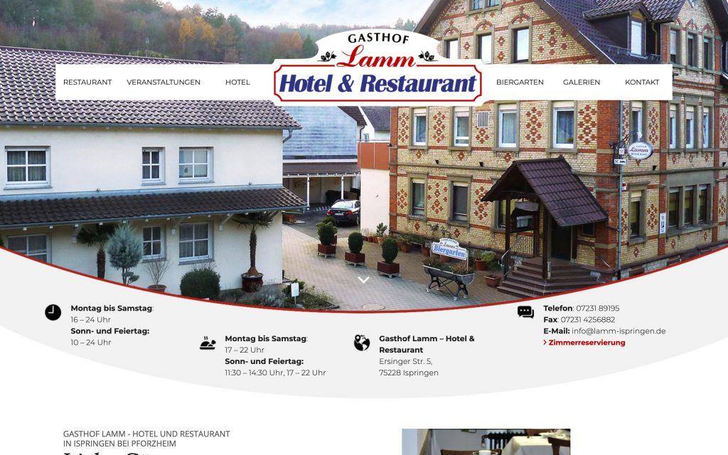 Webdesign für Gasthof und Hotel Desktop-Anischt
