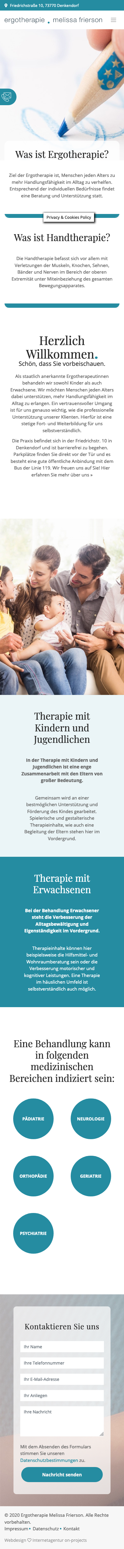 Website Ergotherapie Smartphone